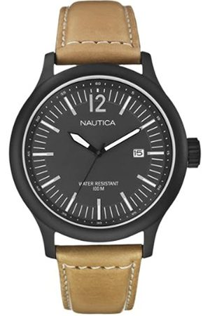 Nautica Men's Quartz Watch with Dial Analogue Display and Leather Strap A12603G