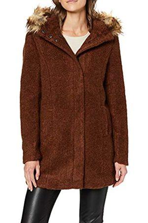 ONLY Women's Onlgianna Celeste Fur Wool Coat OTW, Ginger Bread