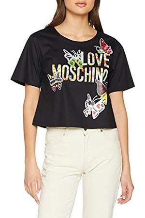 Love Moschino Women's Butterflies and Logo Short Sleeve Blouse