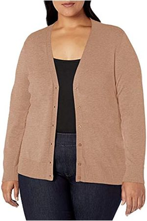 Amazon Essentials Plus Size Lightweight Vee Cardigan Sweater Camel Heather