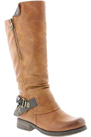 Rieker Women Boots 93271, Ladies Classic Boots, Boots,Long Boots,Long Shaft Boots,Lined,Zippered,Cayenne