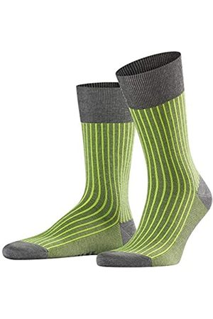 FALKE Men Oxford Stripe Socks - Cotton Blend, Grey (Steel Melange 3165), UK 5.5-6.5 (Manufacturer size: 39-40)