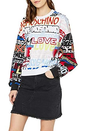 Love Moschino Women's Long Sleeve Stretch Fleece Sweatshirt_Allover Moto Logo, (0006+0005 4008)