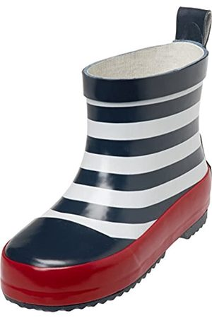 Playshoes Unisex Kid's Wellies Rain Boot Maritime Wellington Rubber, (Marine/Weiss 171)