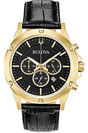 Bulova Mens Chronograph Quartz Watch with Leather Strap 97B179