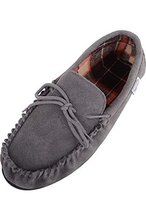 Snugrugs George Mens Suede Moccasin with Checked Cotton Inner and Rubber Sole - - UK 10