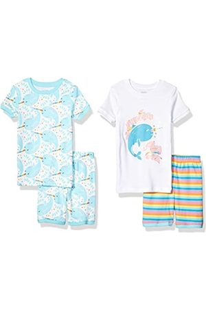 Spotted Zebra 4-piece Snug-fit Cotton Pajama Short Set Narwhals