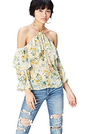 find. Women's Long Sleeve Top in Floral Chiffon with Ruffles