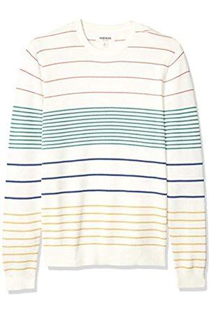 Goodthreads Men's Standard Soft Cotton Multi-Color Striped Crewneck jumper, Primary