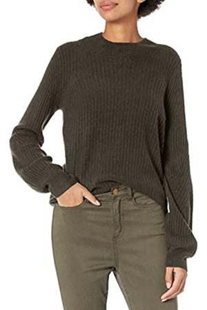 Daily Ritual Mid-gauge Stretch Balloon Sleeve Crewneck Sweater Olive