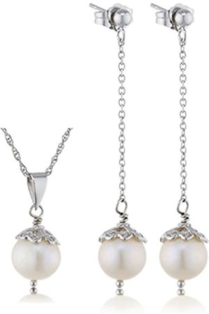 Sakura Pearl Necklace Earrings Jewellery Set with Necklace - 925 Silver Rhodium-Plated Fresh Water Cultured AM - 289
