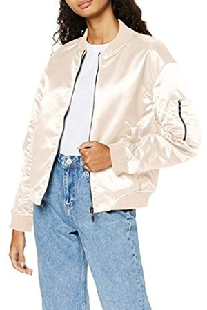 FIND Women's Bomber Jacket with Satin Finish, Elbow Zip, Long Sleeves and Crew Neck
