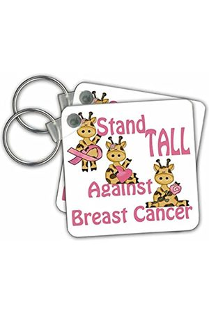 3dRose Stand Tall Against Breast Cancer Cute Giraffes Awareness Ribbon Cause Design Keyring