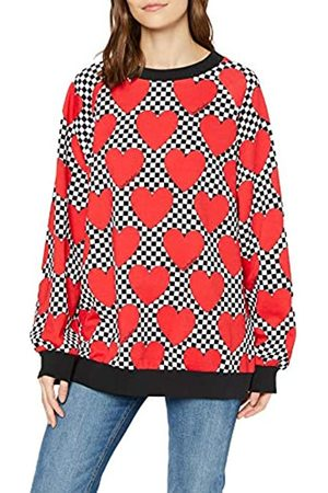 Love Moschino Women's Long Sleeve Fleece Sweatshirt_Allover Hearts Print_Ribbed Bottom & Cuffs