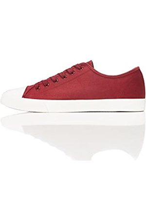 FIND Men's Low-Top Sneakers in Lace Up Baseball Style, (Maroon)