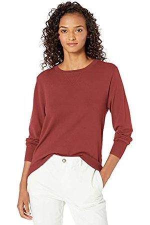 Daily Ritual Fine Gauge Stretch Crewneck Pullover Sweater Brick