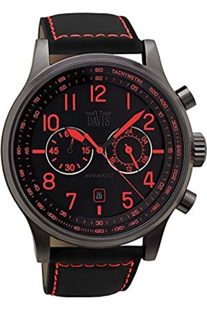 Davis 1863 - Mens Aviation Watch Steel Grey Titanium Case Chronograph Waterresist 50M Dial Date Leather Strap