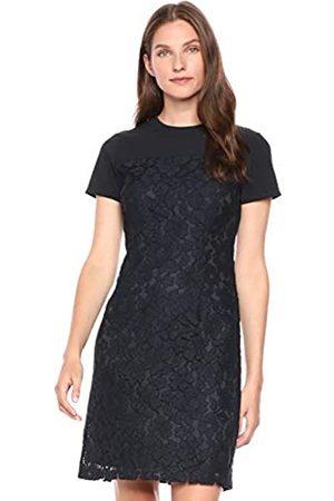 Lark & Ro Short Sleeve Lace Mixed Dress Dark Navy
