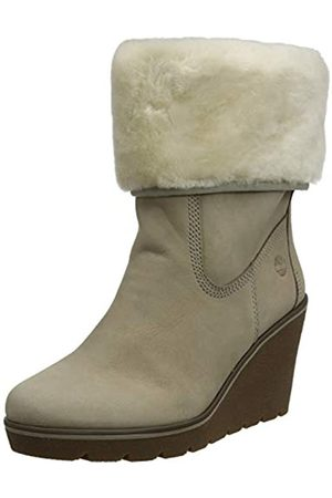 Timberland Women's Paris Height Shearling Chelsea Lace-up Boots, (Taupe Nubuck)