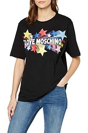 Love Moschino Women's Short Sleeve Jersey Logo & Stars Print T-Shirt