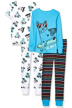 Spotted Zebra 4-piece Snug-fit Cotton Pajama Set Skate Dogs, Small (6-7)