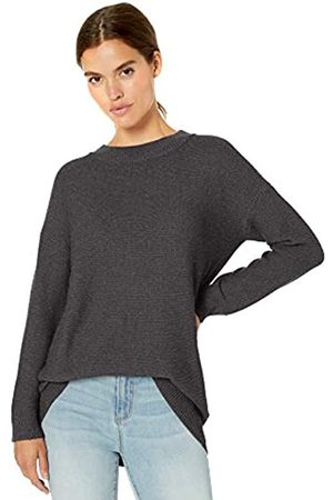 Daily Ritual Wool Blend Baksetweave Crewneck Sweater Pullover, Charcoal Heather