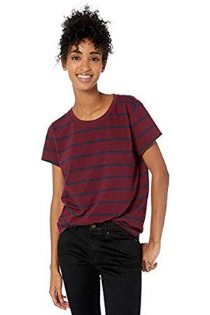 Goodthreads Washed Jersey Cotton Pocket Crewneck T-shirt Bordeaux Open Stripe