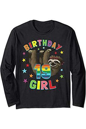 Girl Birthday Sloth Tees Girl 19th Birthday Sloth 19 Year Old Woman B-day Party Gift Long Sleeve T-Shirt