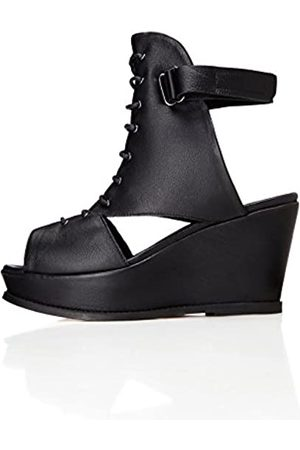 find. Women's Sandals in Leather Lace Up with Wedge Heel