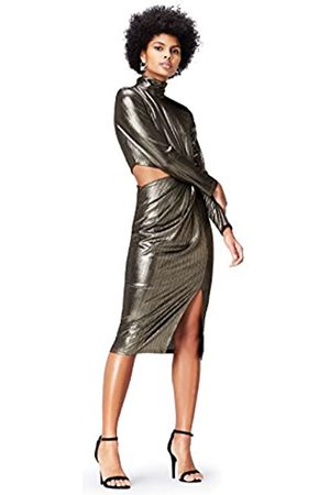 FIND Women's Dress in Metallic Fabric with Peephole Side, High Neck and Long Sleeves