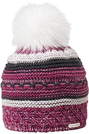 Giesswein Knitted Beanie Brünnstein BlackBerry ONE - Winter Beanie Merino Wool, Faux Fur Bobble, Warm Fleece Lining, Ladies Knit hat