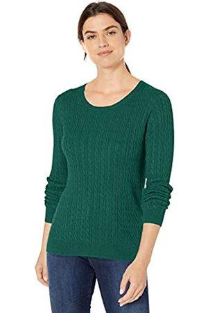 Amazon Lightweight Cable Crewneck Sweater Evergreen