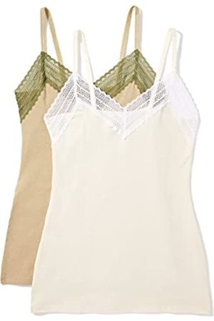 IRIS & LILLY Women's Tank Top Cotton Wider Elastic, Pack of 2