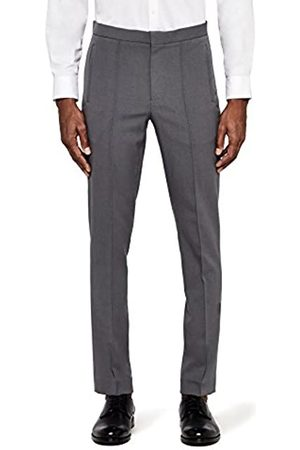 MERAKI Men's Skinny Fit Smart Pintuck Trousers