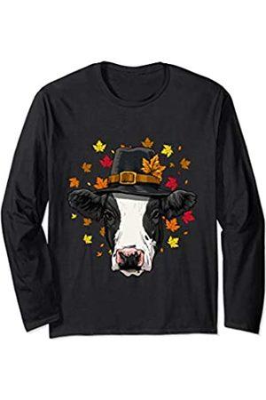 Wowsome! Thanksgiving Cow Pilgrim Costume Men Women Long Sleeve T-Shirt