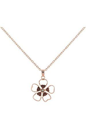 Ted Baker Ted Baker Lerene Rose and Black Diamond Enamel Small Flower Pendant on a Chain of 42-44cm