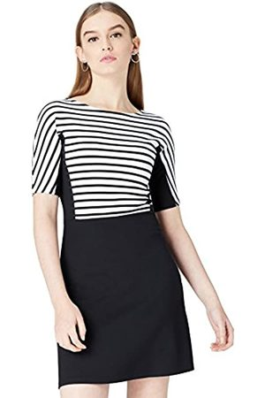 FIND Women's Dress in Colour Block Striped Ponte Jersey with Flared Skirt