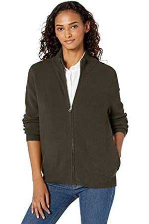 Daily Ritual Cozy Boucle Zip-front Cardigan Sweater Olive