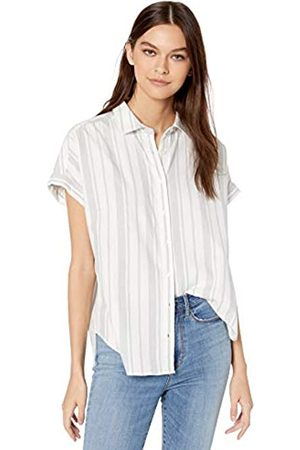 Goodthreads Solid Brushed Twill Short-sleeve Button-front Shirt / Awning Stripe
