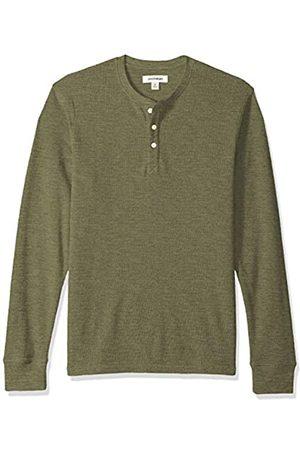 Goodthreads Men's Long-sleeve Slub Thermal Henley Shirt, (olive)