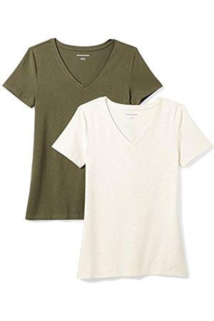 Amazon 2-pack Short-sleeve V-neck T-shirt Olive/Oatmeal Heather