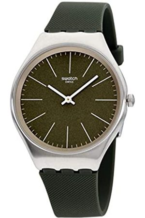 Swatch Unisex Adult Analogue Quartz Watch with Leather Strap SYXS116