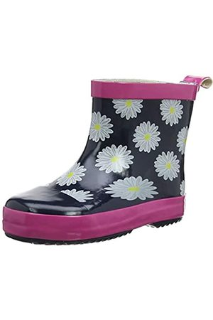 Playshoes Girl's Wellies Rain Boot Daisies Wellington Rubber, (Marine/ 372)