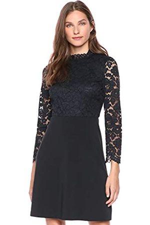 Lark & Ro Long Sleeve Mixed Lace Dress Dark Navy
