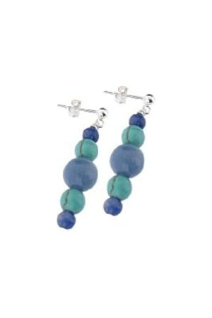 Earth Aventurine and Turquoise Beaded Earrings at 3.5cm in Length