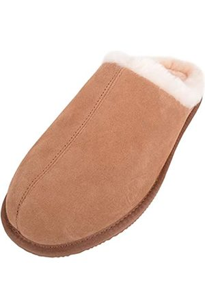 SNUGRUGS Men's Newbury, Sheepskin Mule Rubber Sole Open Back Slippers, (Chestnut)
