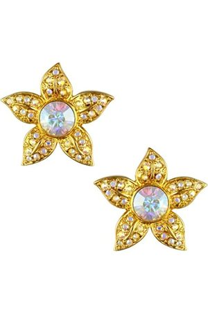 Cristalina 18ct Plated 1930s Retro Style Aurora Borealis Large Floral Crystal Earrings