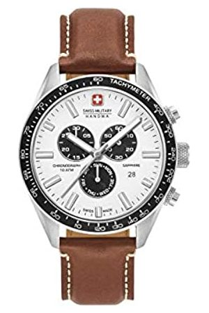 Swiss Military Mens Chronograph Quartz Watch with Leather Strap 06-4314.04.001