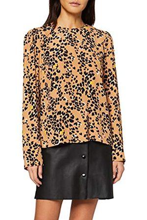 Warehouse Women's Floral Leopard Puff Sleeve Blouse