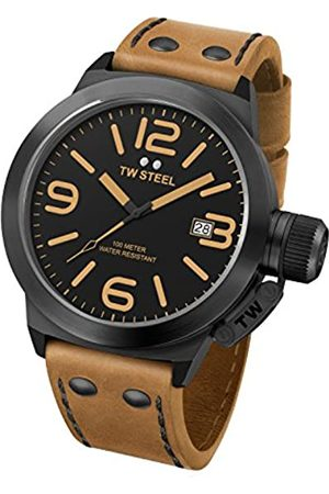 TW Steel Canteen Leather Unisex Quartz Watch with Black Dial Analogue Display and Brown Leather Strap CS41